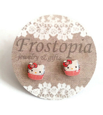 Hello Kitty Inspired Cupcake Earrings Plastic Posts hypo-allergenic no metal