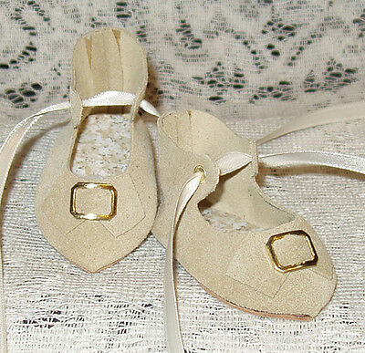 "French Style Leather Doll Shoes for 2 1/2"" foot x 1 1/4"" ~ Dark Ecru Suede"