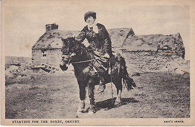 Early Orkney postcard - Starting for the Derby. Kent's Series c.1910.