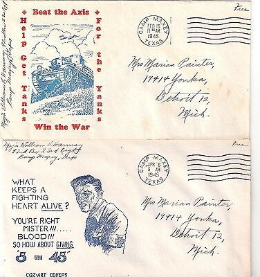 6 US Patriotic cacheted WW II 1945 covers  Blood Ostrich
