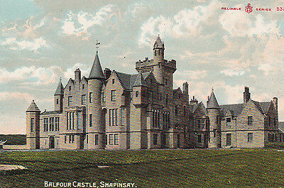 Early Colour Orkney postcard Balfour Castle, Shapinsay. Reliable Series c.1910.