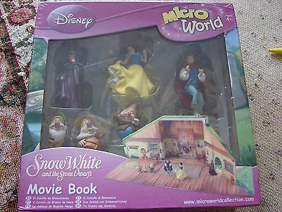 Disney Snow White & the Seven Dwarfs Micro World Figures & Movie Book NEW IN BOX