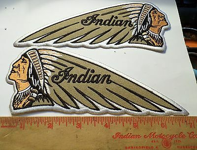 Pair vintage Indian motorcycle embroidered patch collectible old US biker emblem