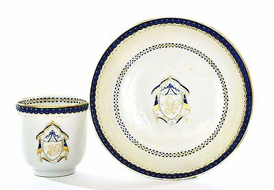 18th Century Chinese Export Blue & Gold Porcelain Armorial Crest Cup & Saucer