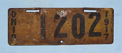 1917 Ohio motorcycle license plate, 1202, flat