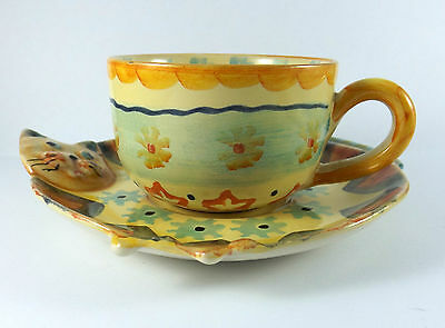 Rare Vintage Italica Ars Italian Art Pottery Cat Theme Cup and Saucer