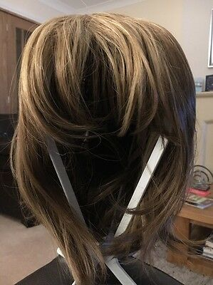 Ladies Bob Style Short Ash Brown with Blonde Highlights Fashion Style Wig