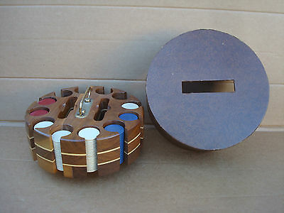 Vintage Mid Century Poker Chip Set In Wooden Carousel Caddy