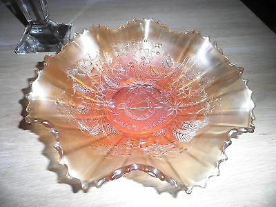 Northwood Carnival glass good luck bowl horseshoe and riding crop vintage 9 inch