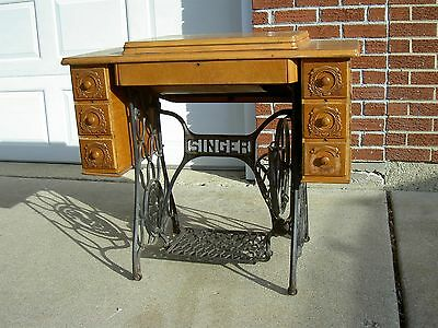 Singer Treadle Sewing Machine Cast Iron Base Stand and Wood Top
