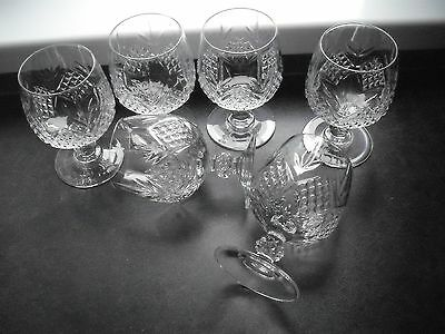 6 cut glass crystal brandy glasses