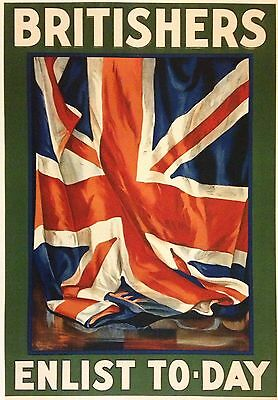 Original 1916 Britishers Poster WW1 Enlist WWI Military Army Recruit Lipscombe