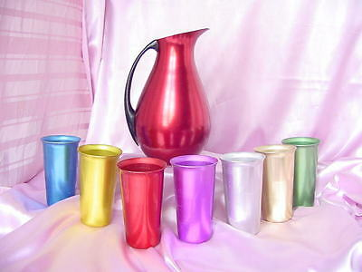 Vintage 7 Colored Anodized Aluminum Drink Glasses Tumblers & Pitcher Nr