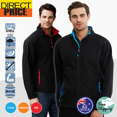 Mens Soft shell Jacket Sports Black Cyan Orange Red Full Zip Polar Fleece Light