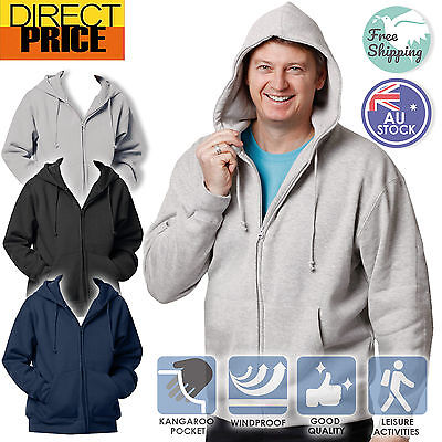 Mens Full Zip Fleecy Hoodie Warm Comfort Cotton Rich, Black Grey Navy 8 sizes