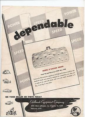 Magazine Page Very Good Condition B/w 1951 Edelbrock Ad