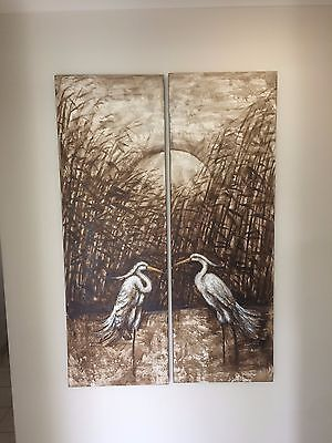 Canvas Painting Wall Art - Set of 2 - Birds In A Field