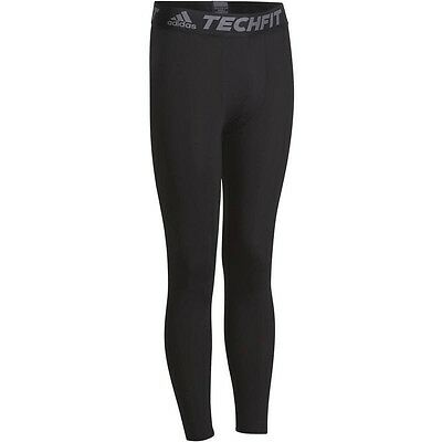 Adidas Tech-Fit Base Mens Long Compression Tights Rugby Running  - Black Size XL