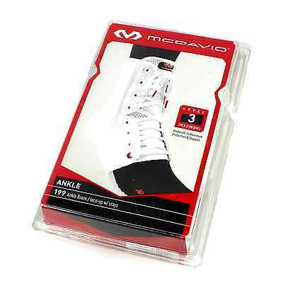McDavid 199 Level 3 Lace-Up Ankle Brace Protection Support With Stays, White, XS