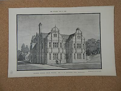 Antique Architects print Thorne House Near Yeovil  the builder 1888.