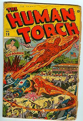 HUMAN TORCH #18 Schomburg War cover. Timely