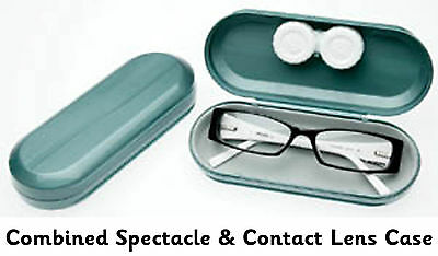 CONTACT LENSES and GLASSES CASE - 2 in 1 SPECTACLES Dual Case Hard Rigid