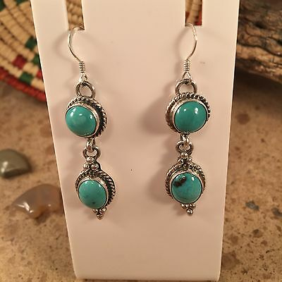 Navajo Turquoise  And Sterling Silver Dangle Earrings Signed