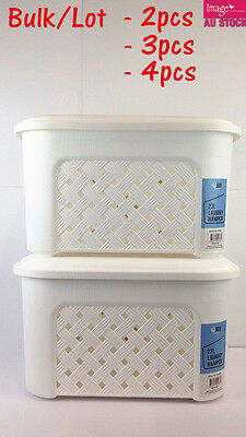 White 23L Laundry Hamper w Lid Laundry Basket Storage Organizer Lot Bulk LAU463