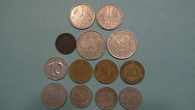 Lot of 13  Germany/West Germany Coins  Pfennigs and Marks German  1947-1969