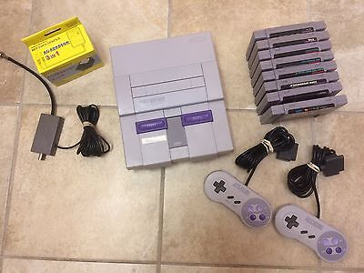 Refurbished Super Nintendo SNES 2 Refurbished Controllers and 8 games All Clean