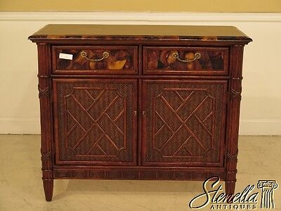 40968E:  Decorator Plantation Style Rattan Server w/ Oyster Top