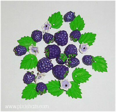 Purple grape berry beads - fruit charms