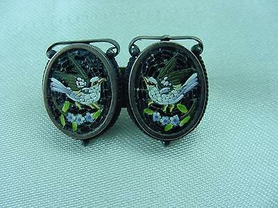 Victorian Edwardian Micro Mosaic Doves Flowers Grand Tour Pin Brooch    #1642