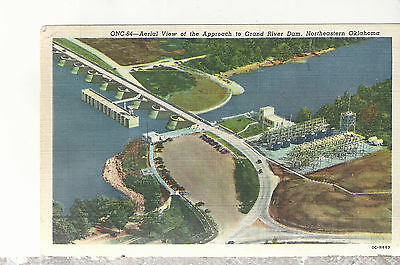 Aerial View Grand River Dam  Oklahoma  Mailed 1951  Linen Postcard 11217