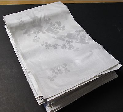 Antique Irish Linen Double Damask 12 Dinner Napkins SHAMROCKS & RIBBONS Unused