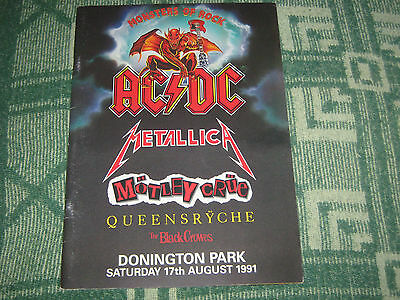 Monsters Of Rock 1991 Tour Program**motley Crue**metallica**ac/dc**excellent**