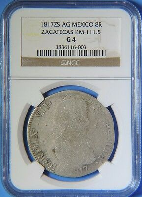 1817 ZS AG Mexico Zacatecas Ferdinand VII Silver 8 Reales NGC G4 KM 111.5