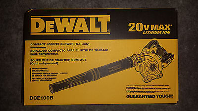 DeWALT DCE100 DCE100B 20V 20 volt Lith-Ion Jobsite Blower brand New  in the box