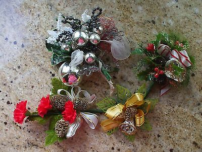 Vintage Christmas Corsage Tulle Mercury Glass Chenille Silver Gold Glitter Lot 4