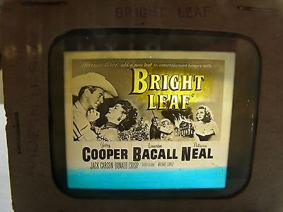 "Gary Cooper Lauren Bacall "" Bright Leaf "" Glass Movie Slide Coming Attraction"