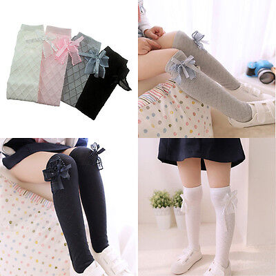 Baby Girl Toddler Kids Knee High Length Cotton Socks Bow Lace Frill 1-7 Years