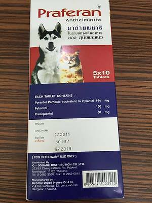 Praferan Anthelmintics Wormer Worming Tapeworms Roundworms for Cats,Dogs 10 Tab.