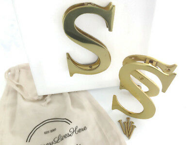 Solid Brass Door Knocker Polished Letter S 70mm (H) x 110mm (W)