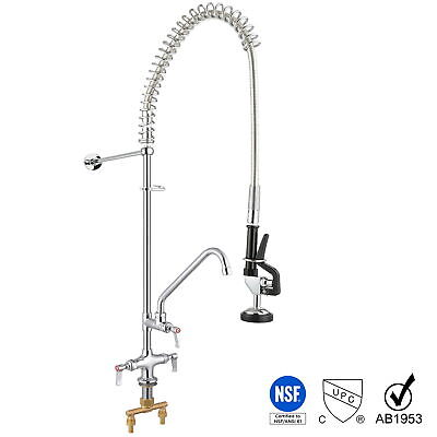 "Commercial Pre-Rinse Wall Mount Faucet Kitchen Restaurant w/ 12"" Add-On Faucet"