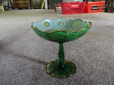 Rare Compote 3900/136 Cambridge Dark Emerald Green Glass Charleton Roses enamel