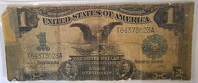 1899 Large $1 One Dollar Silver Certificate Black Eagle Note W Holder Blue Seal