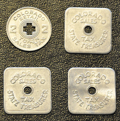 4 State Of Colorado State Sales Tax Tokens (3) 1/5 cent & (1) 2 mill Aluminum