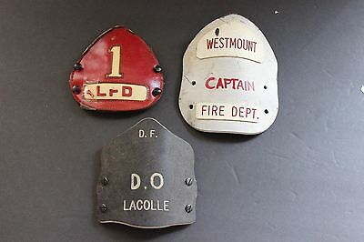 3 Fire Department Helmet Fronts from Canada