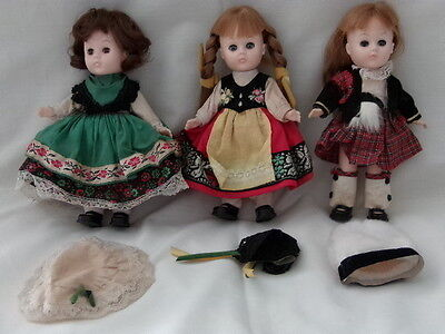 """Vintage VOGUE GINNY Doll Lot Around the World 8"""" Jointed w/ Clothes & Shoes 70s"""