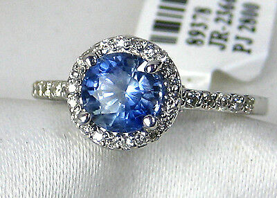 Natural Blue Sapphire Ring 14K white gold Halo Style 1.64ct. CERTIFIED Ap $3,247